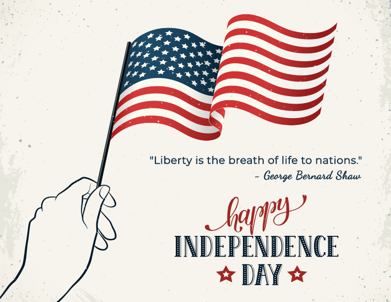 Happy Independence Day, Liberty is the breath of life to nations, George Bernard Shaw